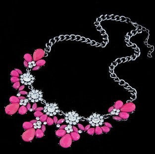 Austrian Crystals Flower Necklace - Shevoila Jewelry & Clothing - 2