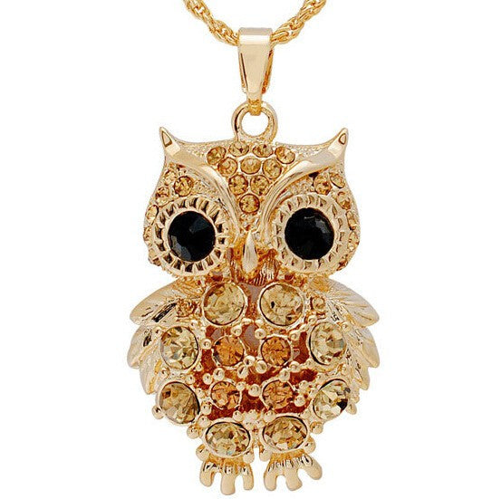 Crystal Gem Owl Necklace - Shevoila Jewelry & Clothing - 3