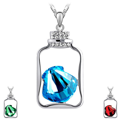 Gemstone Shell Bottle Necklace - Shevoila Jewelry & Clothing - 1