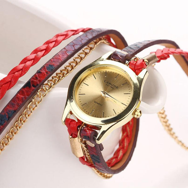 Gold & Leather Braided Watch - Shevoila Jewelry & Clothing - 2