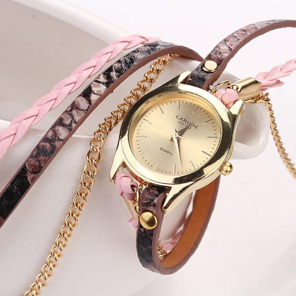 Gold & Leather Braided Watch - Shevoila Jewelry & Clothing - 7