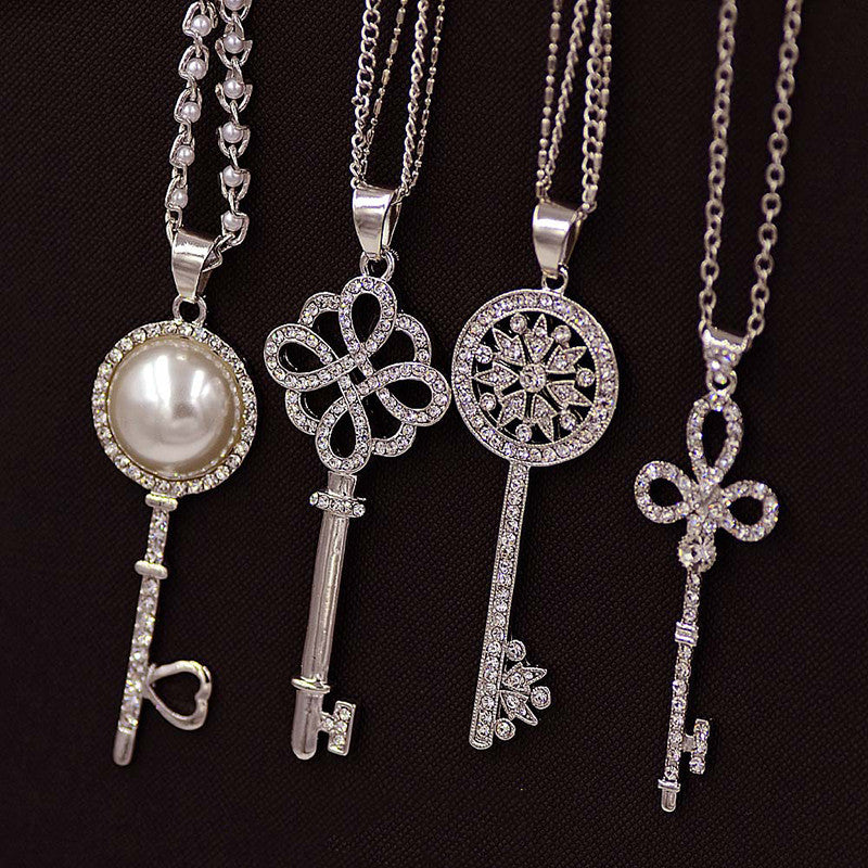 Pearl Key Pendant Necklace - Shevoila Jewelry & Clothing - 1