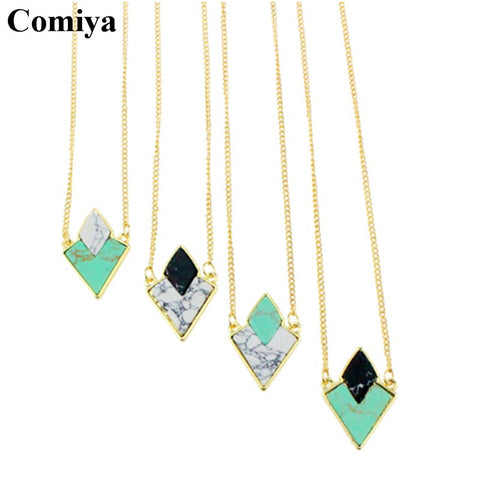 Diamond-Shape Gemstone Necklace - Shevoila Jewelry & Clothing