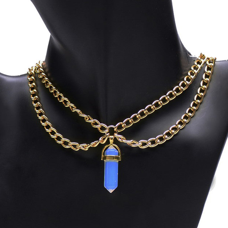 Natural Gemstone Double Chain Necklace - Shevoila Jewelry & Clothing - 1