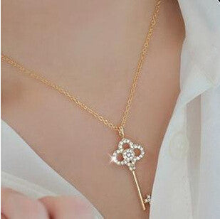 Long Key Crystal Necklace - Shevoila Jewelry & Clothing - 2