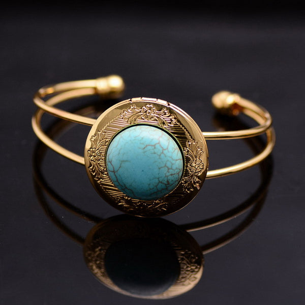 Gold Plated Natural Stone Bracelet - Shevoila Jewelry & Clothing - 1