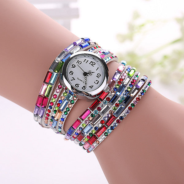 Gemstone Leather Wristwatch - Shevoila Jewelry & Clothing - 2