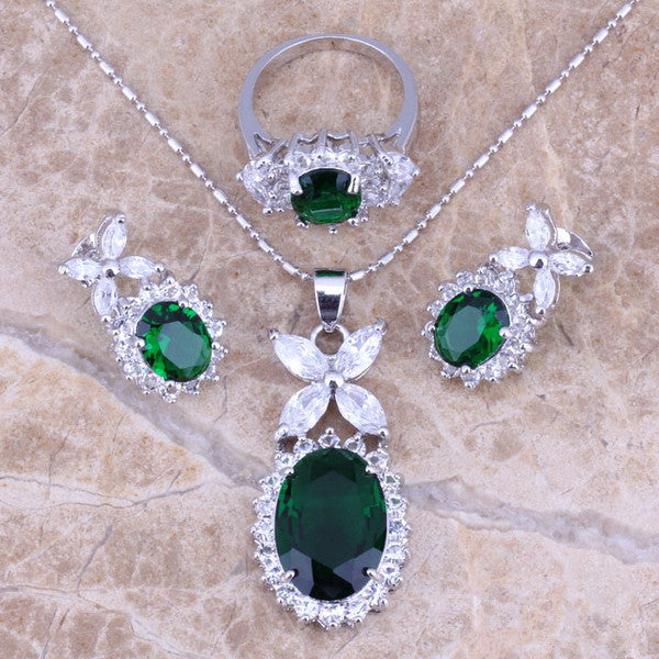 Emerald Flower Jewelry Set - Shevoila Jewelry & Clothing