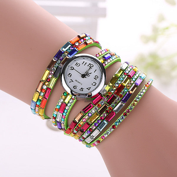 Gemstone Leather Wristwatch - Shevoila Jewelry & Clothing - 11