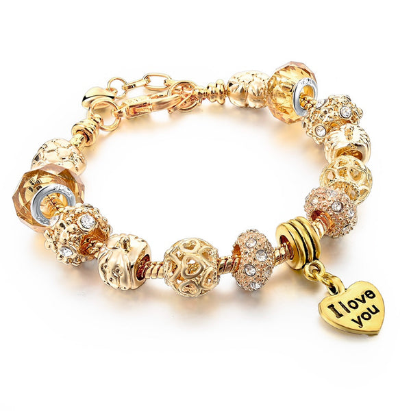 "Gold ""I Love You"" Charm Bracelet - Shevoila Jewelry & Clothing - 3"