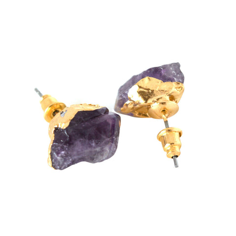 Amethyst & Gold Stud Earrings - Shevoila Jewelry & Clothing - 1