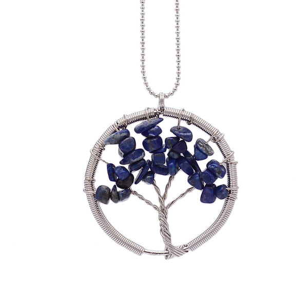 Wisdom Tree of Life - 7 Chakra Natural Stone Pendant Necklace - Shevoila Jewelry & Clothing - 2