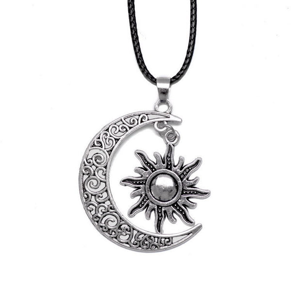 Crescent Moon And Sun Necklace - Shevoila Jewelry & Clothing - 3