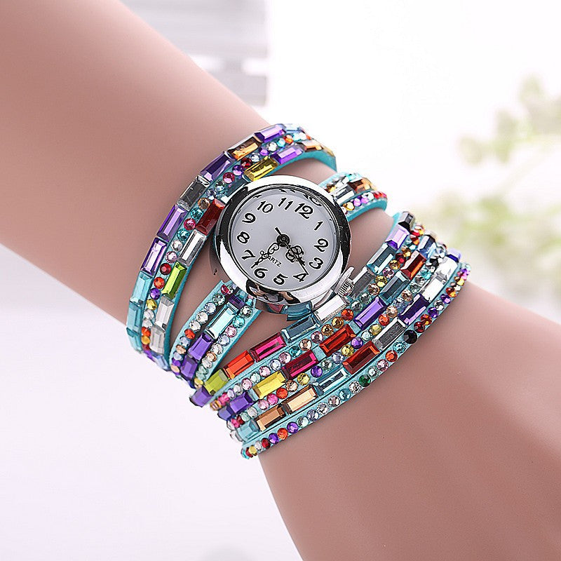 Gemstone Leather Wristwatch - Shevoila Jewelry & Clothing - 4