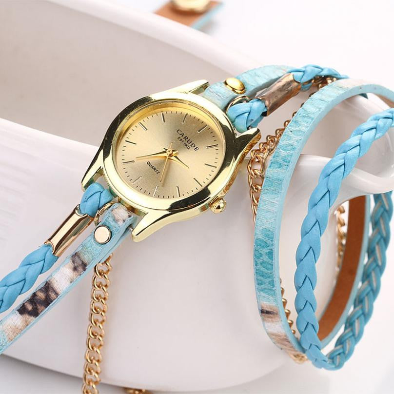 Gold & Leather Braided Watch - Shevoila Jewelry & Clothing - 5