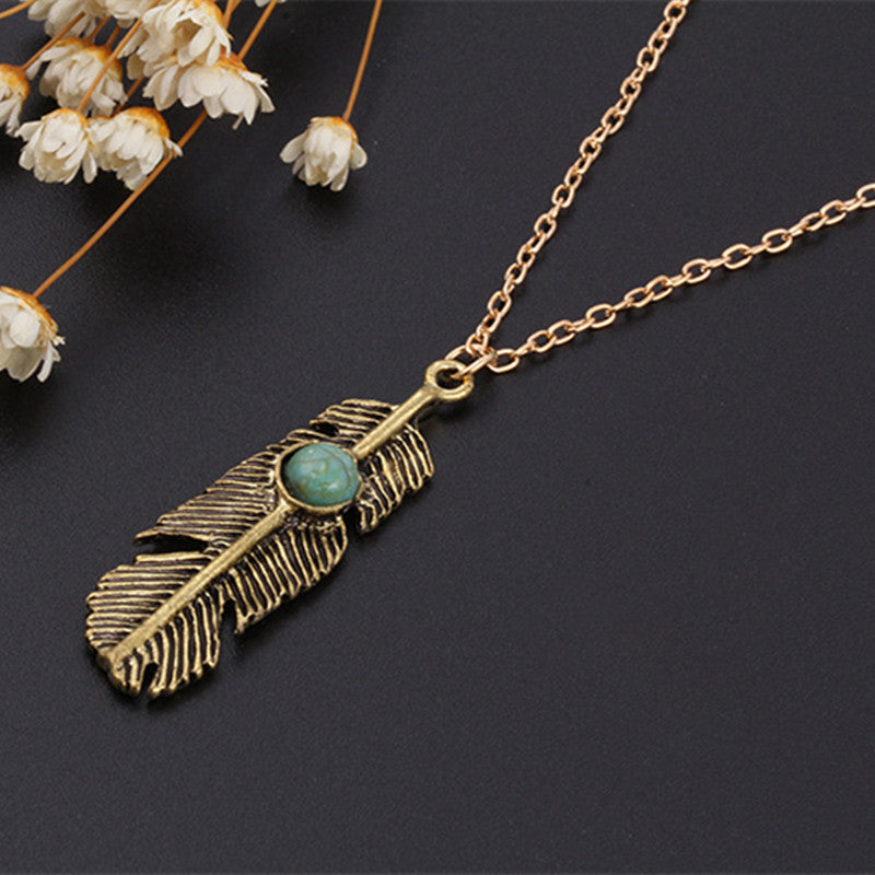 Vintage Turquoise Feather Necklace - Shevoila Jewelry & Clothing - 1