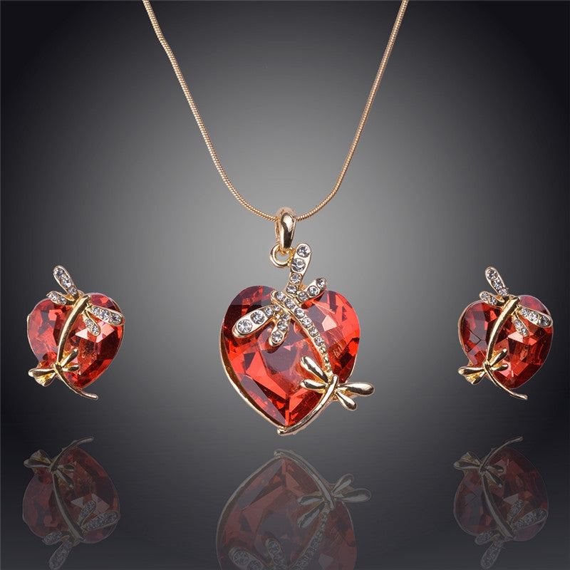 Gemstone Dragonfly Heart Jewelry Set - Shevoila Jewelry & Clothing - 4