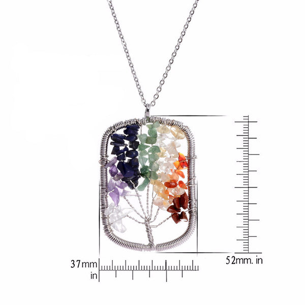 Heart Tree of Life - 7 Chakra Natural Stone Pendant Necklace - Shevoila Jewelry & Clothing - 3
