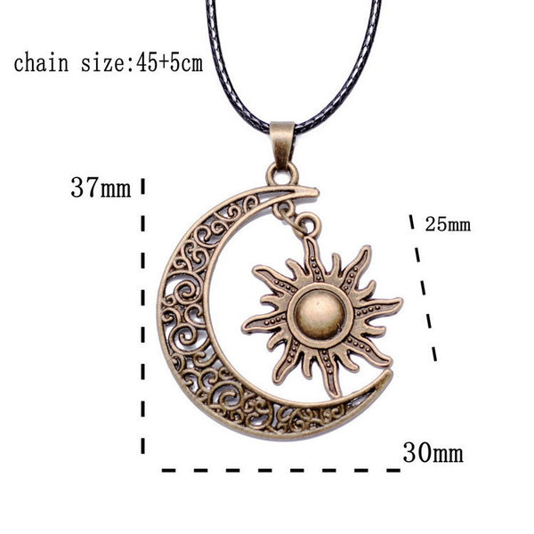 Crescent Moon And Sun Necklace - Shevoila Jewelry & Clothing - 2