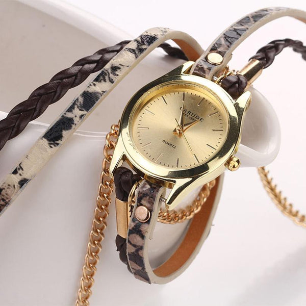 Gold & Leather Braided Watch - Shevoila Jewelry & Clothing - 6