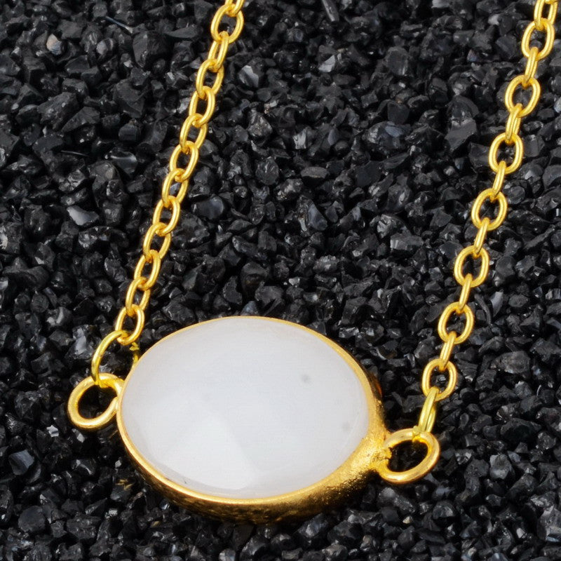 Oval Natural Stone Agate Necklace - Shevoila Jewelry & Clothing - 4