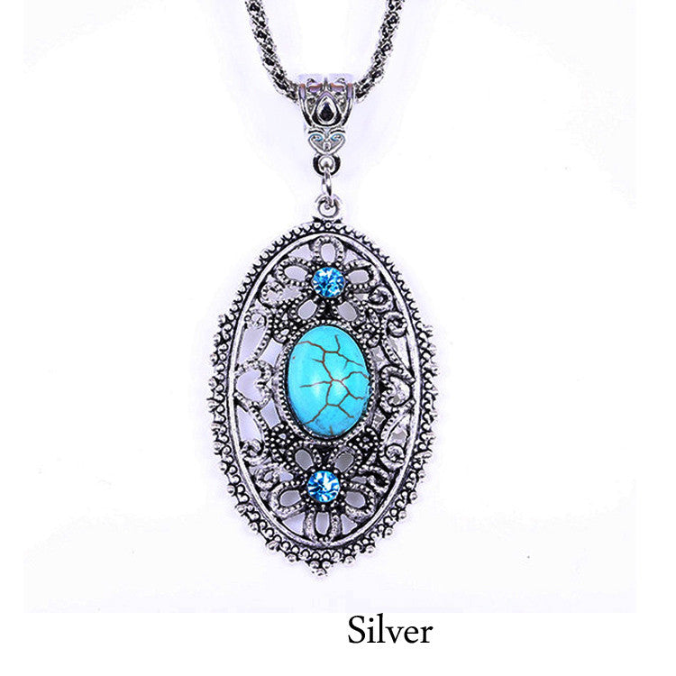 Tibetan Turquoise Pendant Necklace - Shevoila Jewelry & Clothing - 2