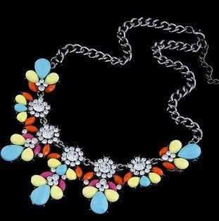 Austrian Crystals Flower Necklace - Shevoila Jewelry & Clothing - 5