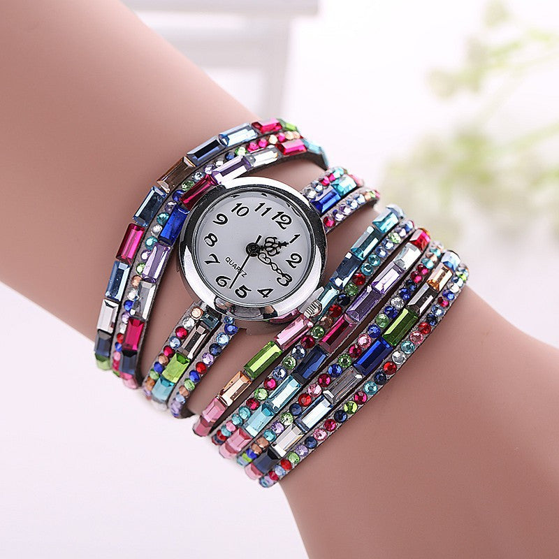 Gemstone Leather Wristwatch - Shevoila Jewelry & Clothing - 8
