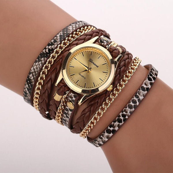 Gold & Leather Braided Watch - Shevoila Jewelry & Clothing - 1