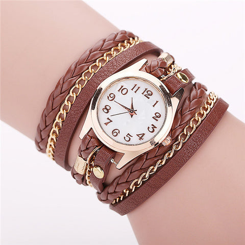 Gold & Leather Wrap Watch - Shevoila Jewelry & Clothing - 1