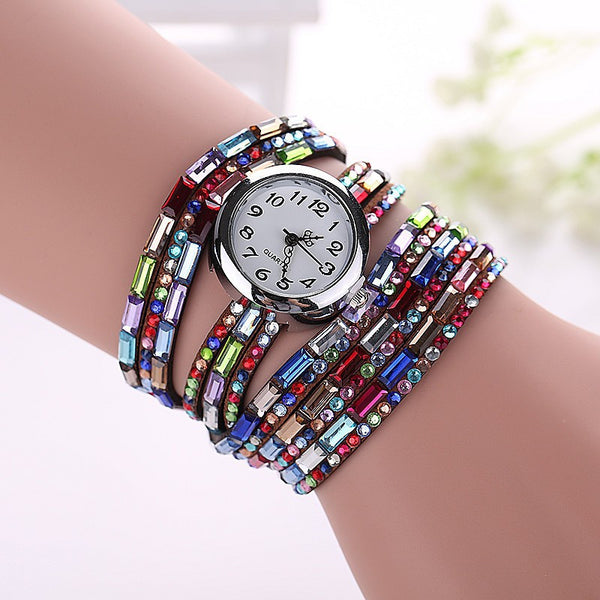 Gemstone Leather Wristwatch - Shevoila Jewelry & Clothing - 10