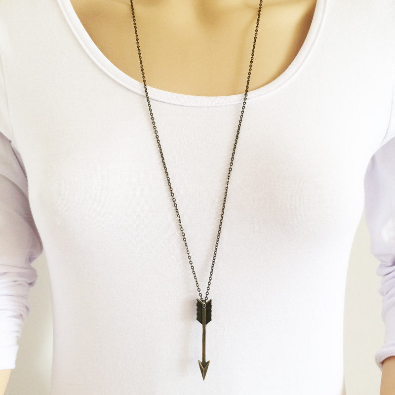 Long Chain Arrow Necklace - Shevoila Jewelry & Clothing - 1