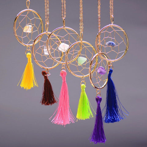 Gemstone Dream Catcher Necklaces - Shevoila Jewelry & Clothing - 1