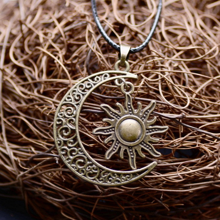 Crescent Moon And Sun Necklace - Shevoila Jewelry & Clothing - 6