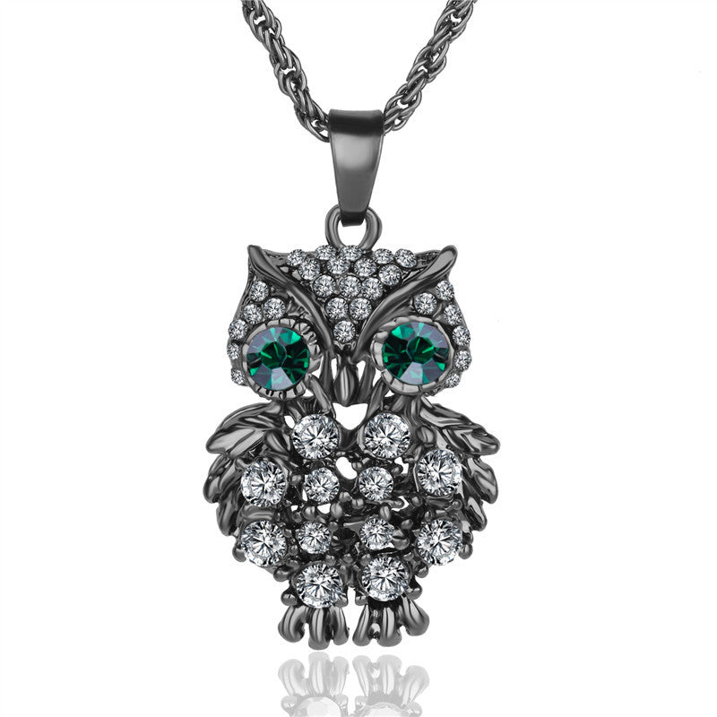 Crystal Gem Owl Necklace - Shevoila Jewelry & Clothing - 4