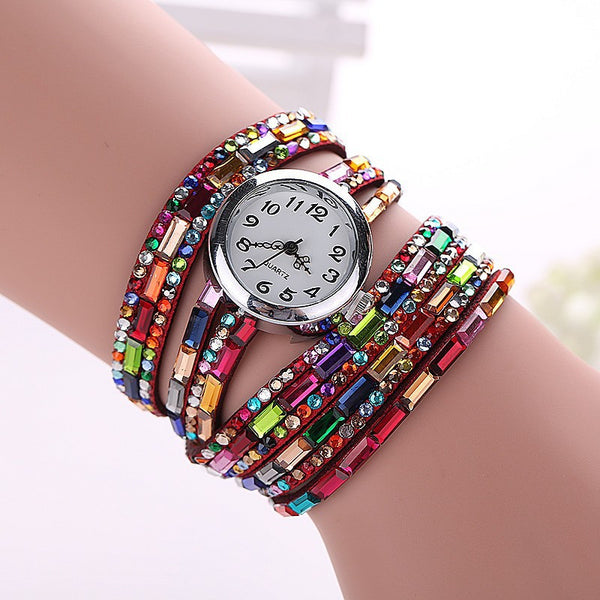 Gemstone Leather Wristwatch - Shevoila Jewelry & Clothing - 6