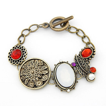 Antique Leaf & Gemstone Charm Bracelet - Shevoila Jewelry & Clothing