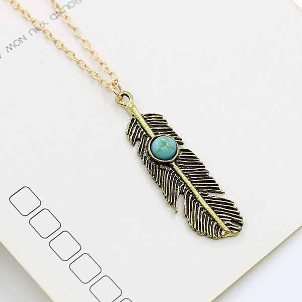 Vintage Turquoise Feather Necklace - Shevoila Jewelry & Clothing - 3