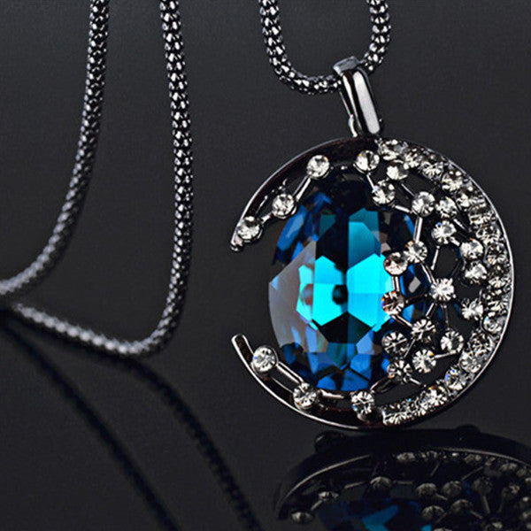 Crystal Moon Necklace - Shevoila Jewelry & Clothing - 2