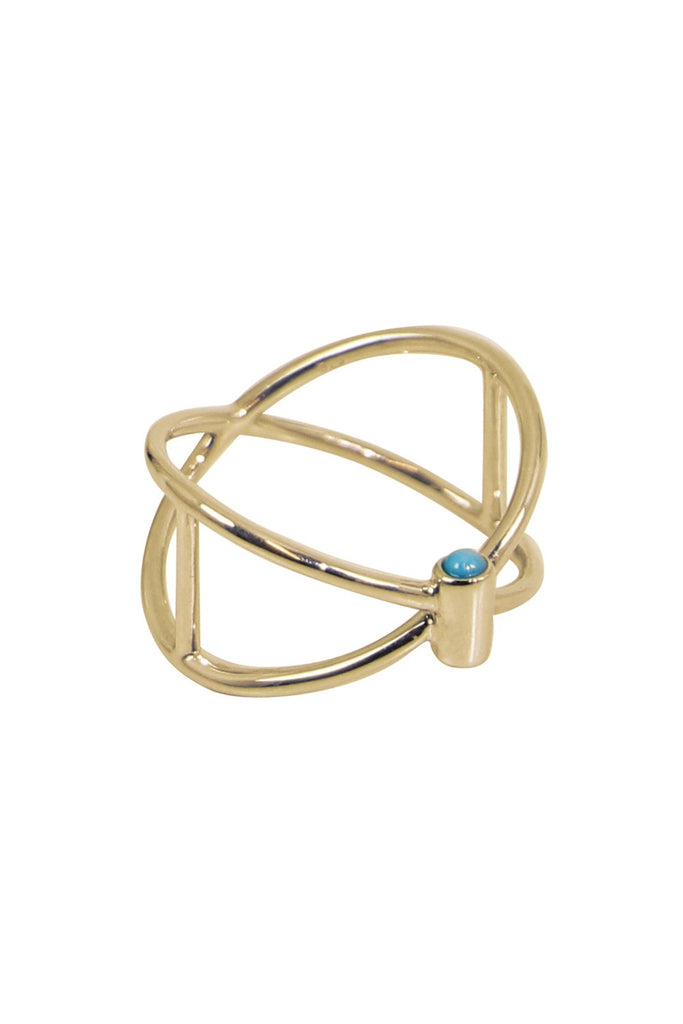 Thin Closed Ring with Turquoise (Gold)