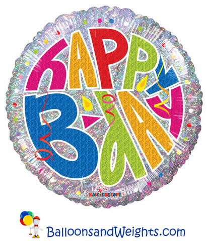 18 Inch B Day Holographic Foil Balloon
