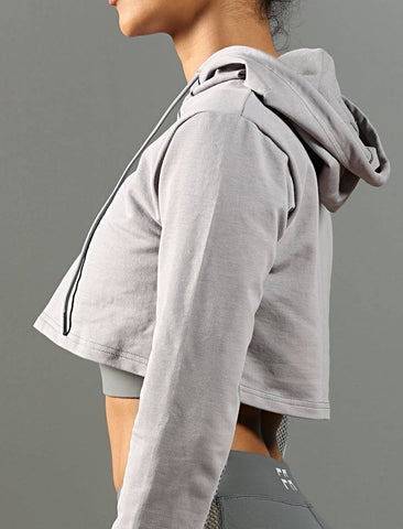FA-Performance Cropped Hoodie - Heather Grey