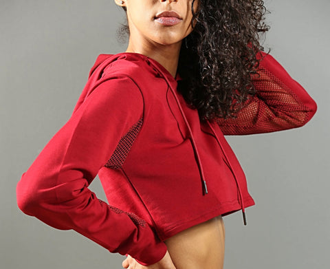 FA-Performance Cropped Hoodie - Ox Blood