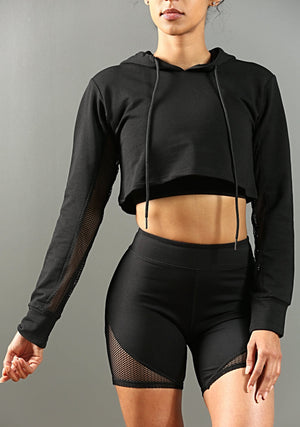 FA-Performance Cropped Hoodie - Black