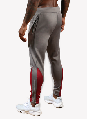 FA Performance Track Pants - Grey/Burgundy