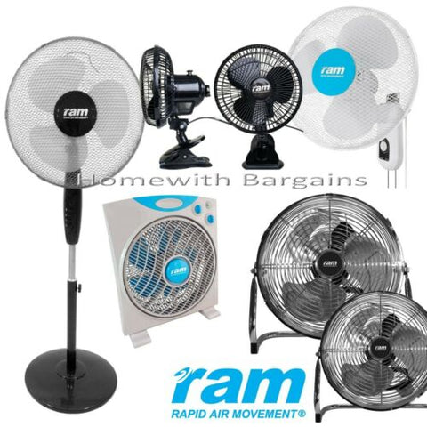 "RAM 16"" Pedestal, Wall Fan 12"" Box Floor Fan - 3 Speed 6"" Clip-on 7"" Oscillating"