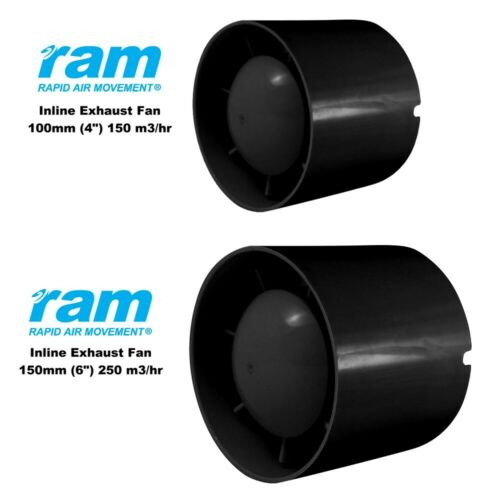 "RAM Inline Exhaust Ducting Fan 4"" or 6"" inch Air Booster Extractor Fans Hydro"