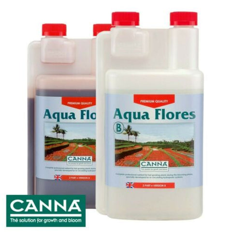 CANNA AQUA FLORES 1 Litre Hydro A+B Flower Bloom Plant Food Nutrient Hydroponics