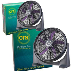 "ORA 14"" 20"" Floor Fan Slim Powerful Quiet Air Circulating Grow Room 3 Speed Fan"