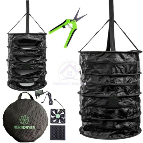 HERB DRYER Bud Odour Free Drying, Fan, Carbon Filter, Dry Rack Net Hydroponics